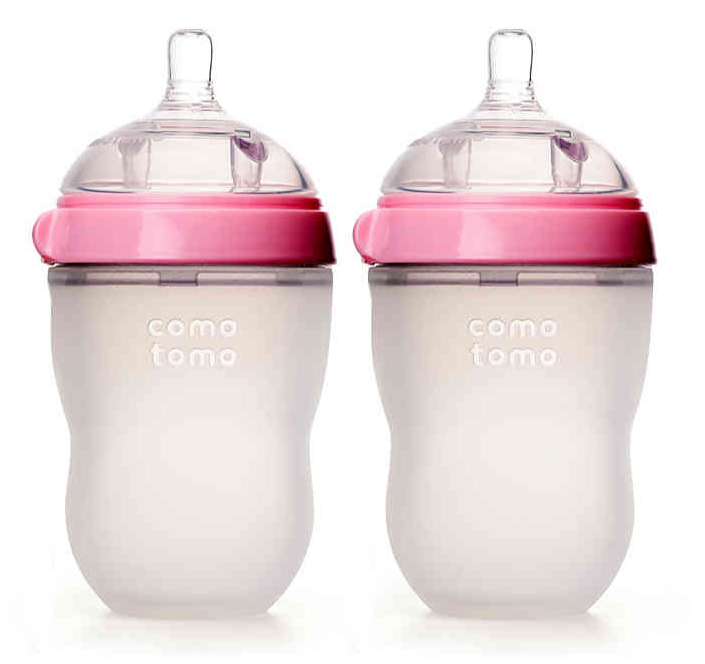 Comotomo Baby Bottle in Pink,  8 Ounce, 2 Pack