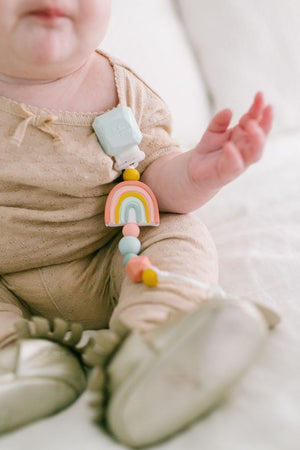 LouLou Lollipop Darling Silicone Pacifier Clip in Rainbow