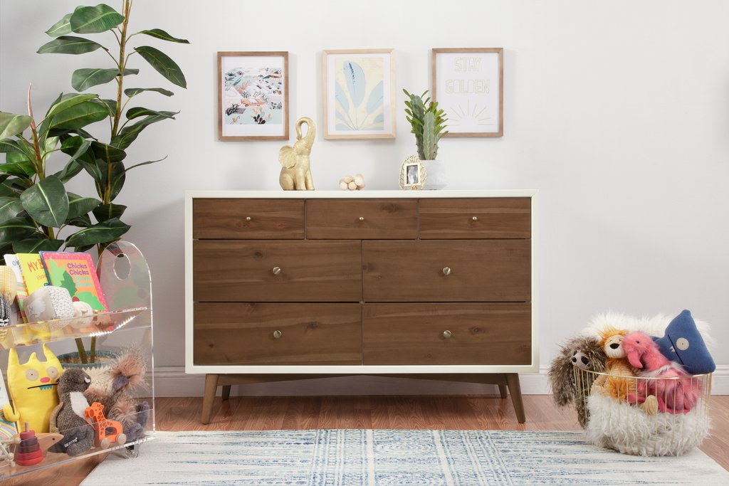 babyletto Palma 7 Drawer Dresser in Warm White with Natural Walnut