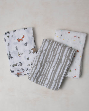 Little Unicorn Cotton Muslin Swaddle 3-Pack in Forest Friends