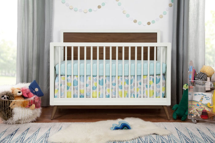 babyletto Palma 4-in-1 convertible crib with toddler bed conversion kit in Warm White with Natural Walnut