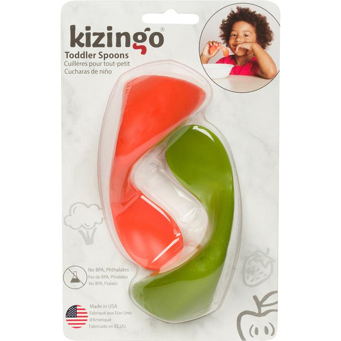 Kizingo 2-Pack Right-Handed Toddler Spoons - Carrot-Peas