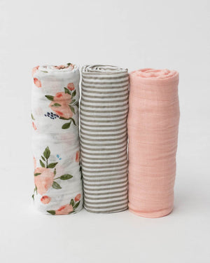 Little Unicorn Cotton Muslin Swaddle 3-Pack - Watercolor Roses