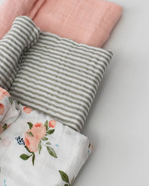 Little Unicorn Cotton Muslin Swaddle 3-Pack in Watercolor Roses