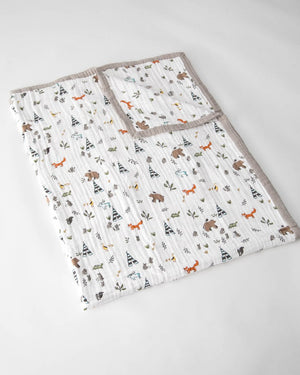 Little Unicorn Cotton Muslin Big Kid Quilt in Forest Friends