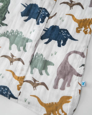 Little Unicorn Cotton Muslin Sleep Bag in Dino Friends - Size Small