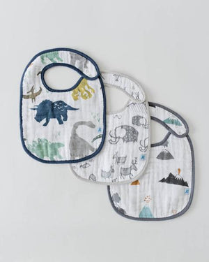 Little Unicorn Classic Bib 3 Pack In Dino Friends