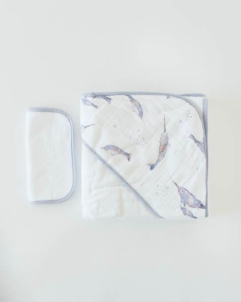 Little Unicorn Hooded Towel and Washcloth Set in Narwhal