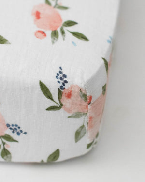 Little Unicorn Cotton Muslin Crib Sheet - Watercolor Roses