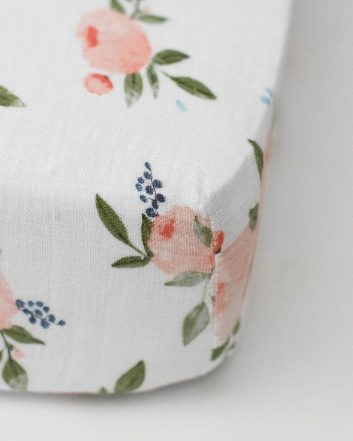 Little Unicorn Cotton Muslin Crib Sheet in Watercolor Roses
