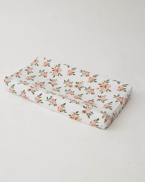 Little Unicorn Cotton Muslin Changing Pad Cover - Watercolor Roses