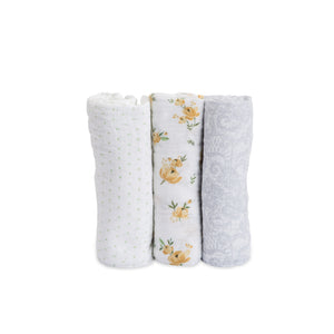 Little Unicorn Cotton Muslin Swaddle 3-Pack - Yellow Rose