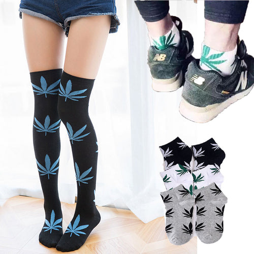 Unisex Cotton Marijuana Leaf Socks