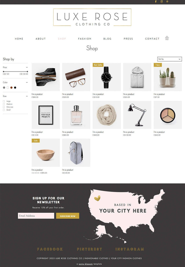 e-Commerce Wix Website Template