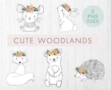 Cute Woodland Animal illustrations with floral crowns