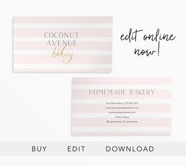 Editable Bakery business Card