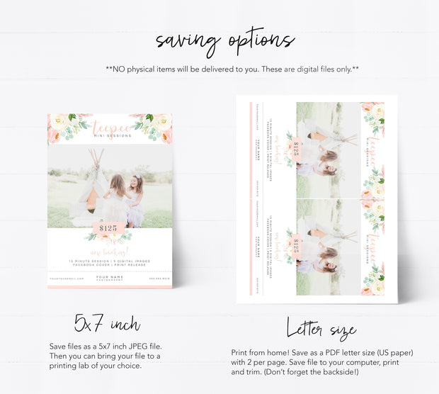 Editable Teepee Mini Session Template