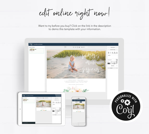 Editable Summer Mini Session Template