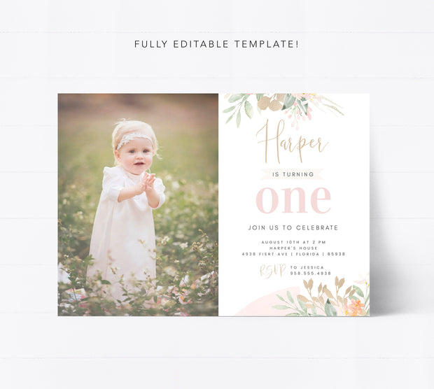 Editable First Birthday Invitation