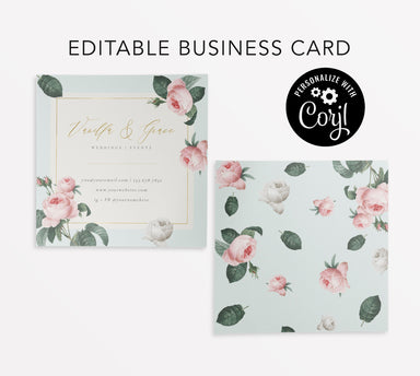 Editable Business Card, Instant Download Wedding Planner Business Card, Vintage Flowers, Instant Download Business Card, Botanicals, Florist