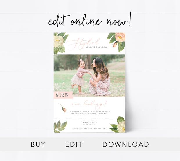 Editable Styled Mini Session Template