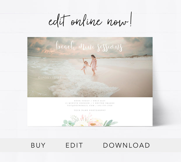 Editable Beach Mini Session Template