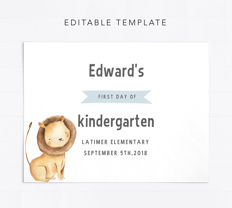 Editable First Day of School Sign For Boys
