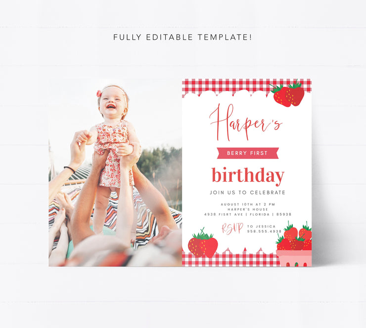 Editable Berry First Birthday Invitation