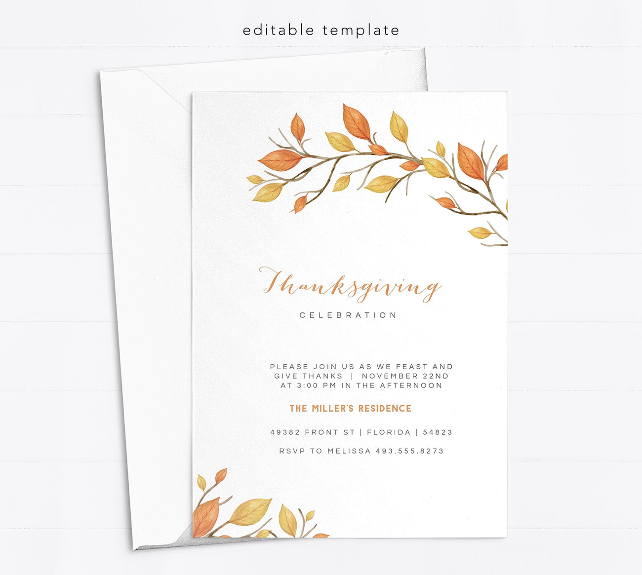 Editable Thanksgiving Card