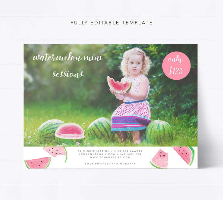 Editable Watermelon Mini Session Template