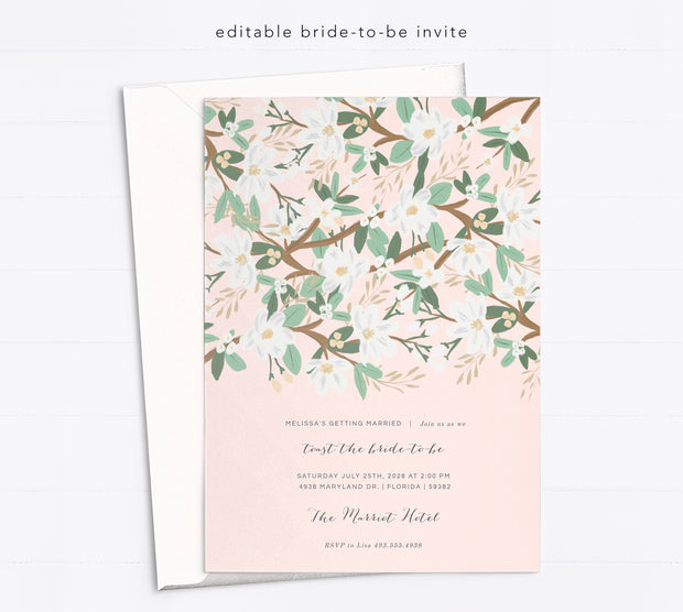 Editable Bride to Be Invitation