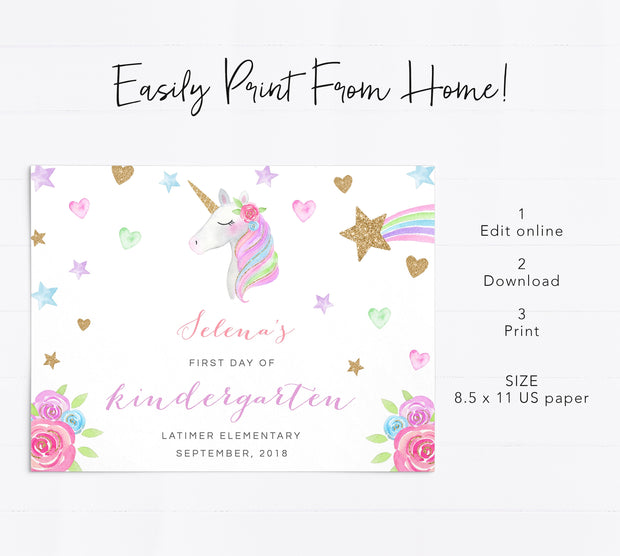 Editable Unicorn First Day of School Sign