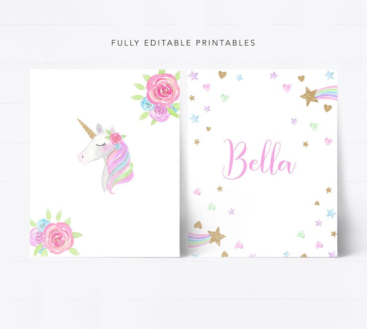 Editable Unicorn Wall Printable