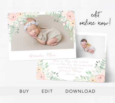Editable Birth Announcement Template