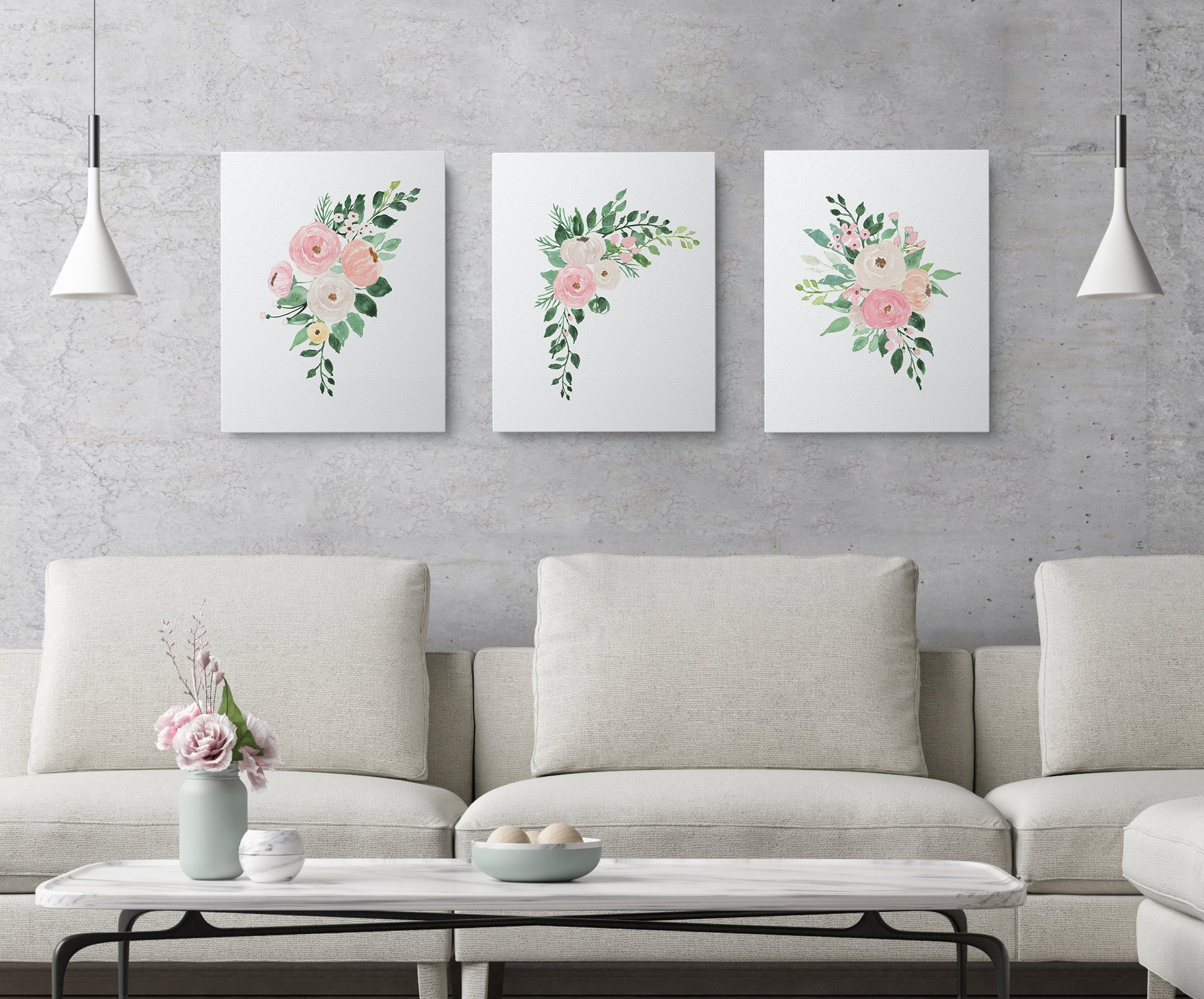 Set of 3 Watercolor Flowers Printables