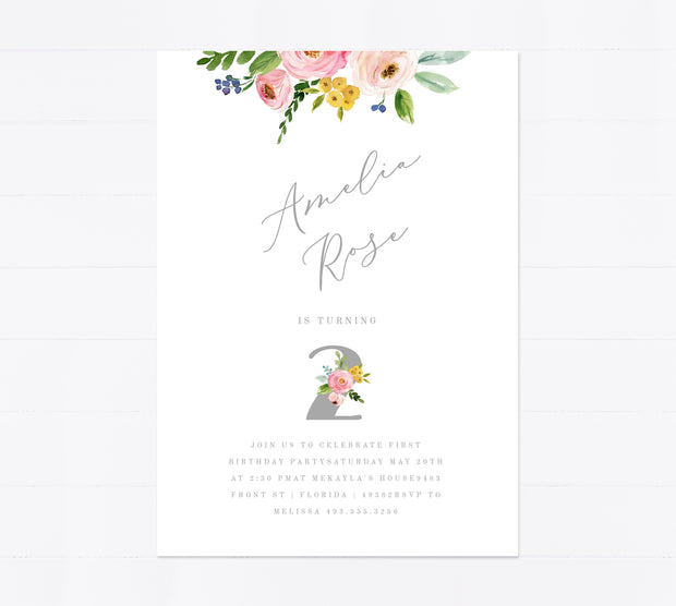 Editable 1st Birthday Invitation Card