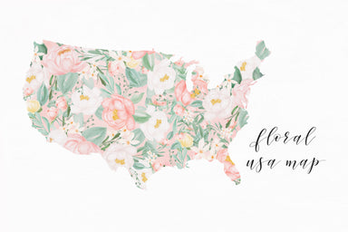 Watercolor Floral USA Map