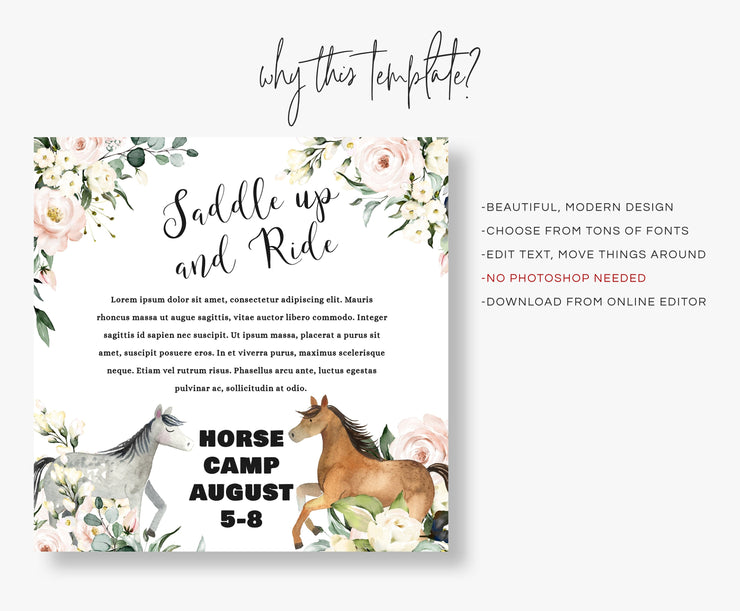 Editable Horse Camp Flyer