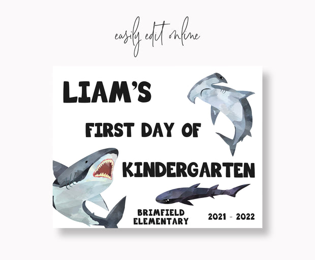 Editable Shark First Day of School Sign