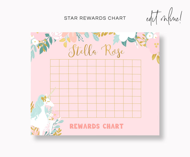 Unicorn Rewards Chart for Kids