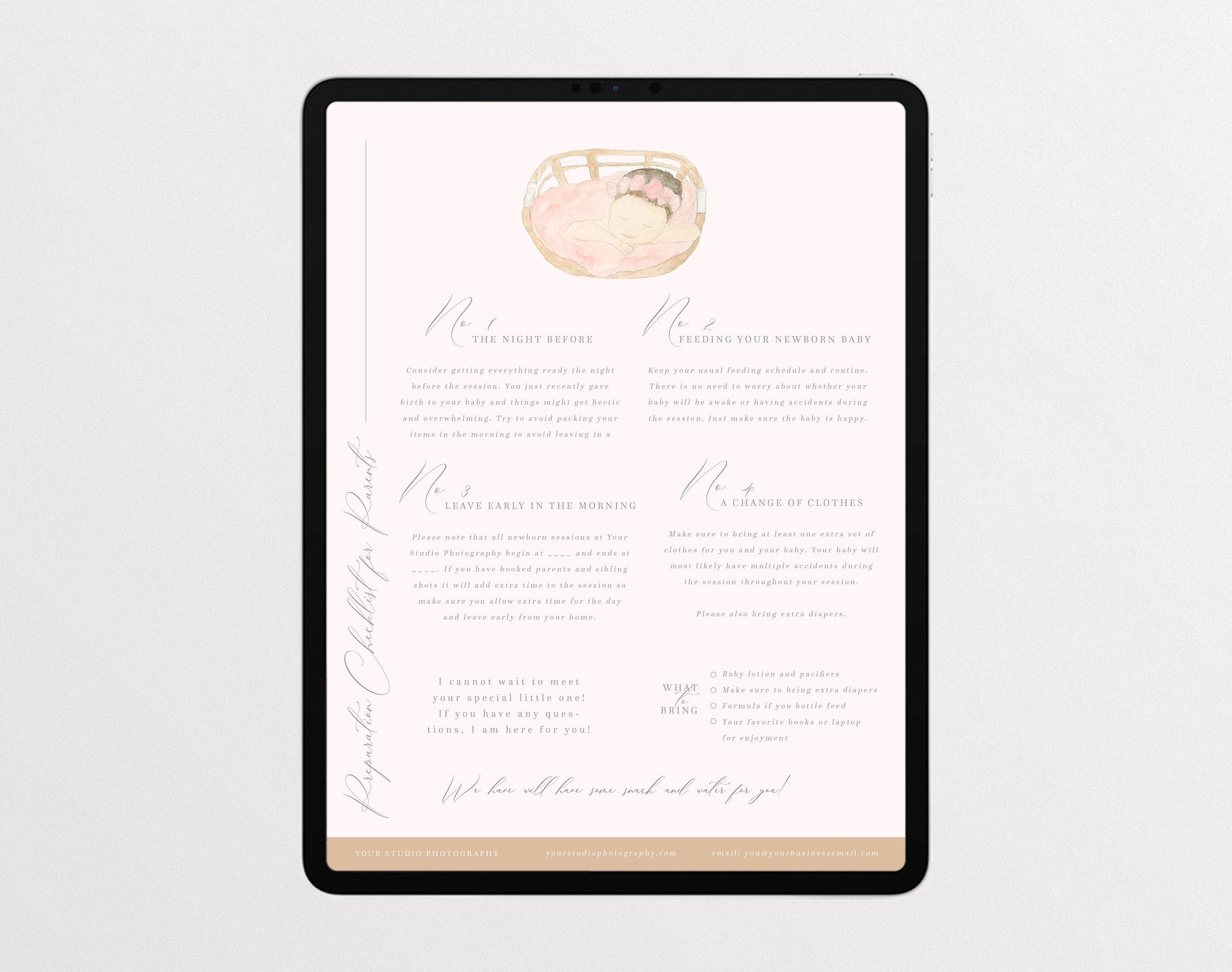 Newborn Session Checklist Template