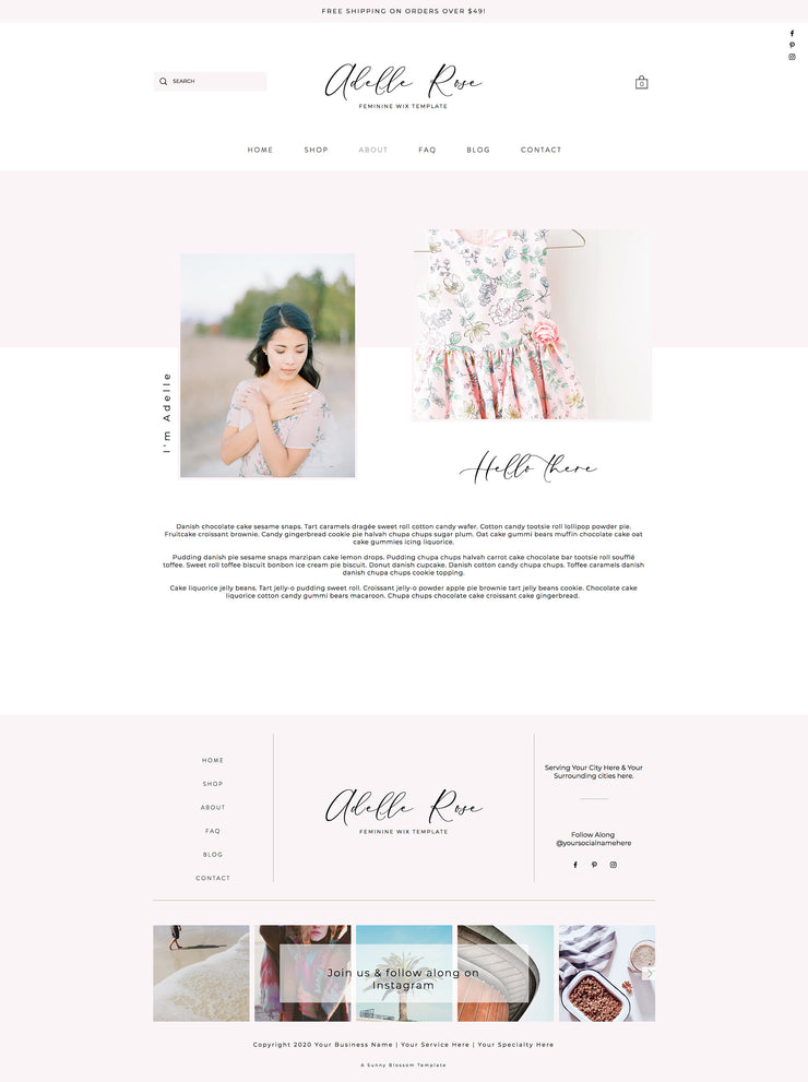 Feminine Wix e-Commerce Template