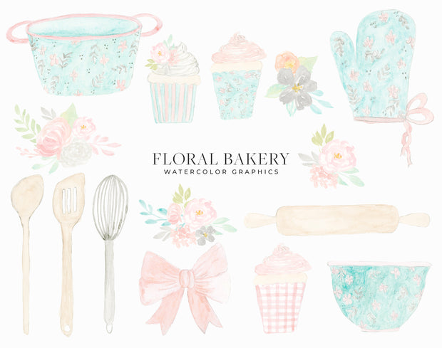 Watercolor Bakery Clipart Pack