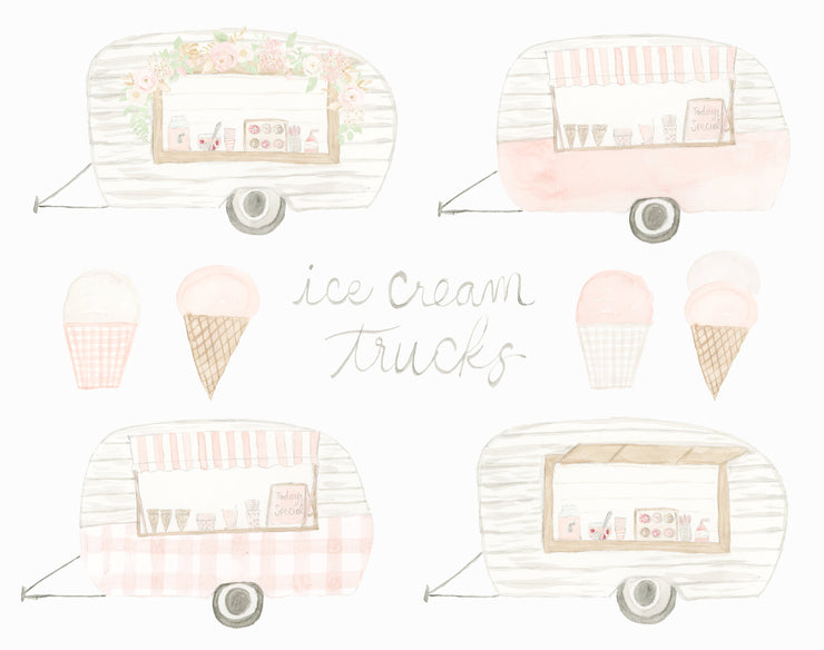 Watercolor Ice Cream Trucks