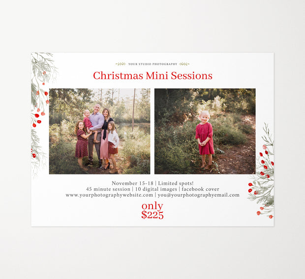 Christmas Mini Session Template, Holiday Mini Session Template, Christmas Minis, Holiday Minis, Marketing Templates for Photographers