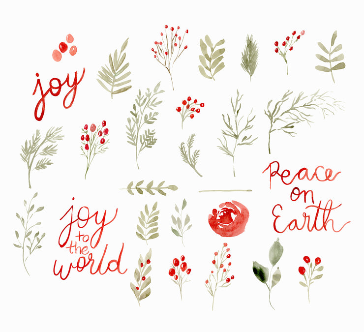Christmas Watercolor Clipart, Christmas Watercolor Berries, Christmas PNG clipart, Christmas Watercolor PNG clipart, Christmas Quotes