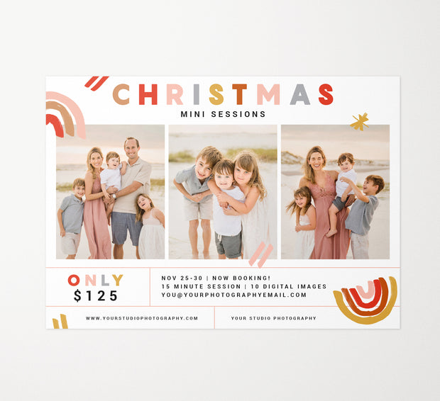 Christmas Mini Session Template, Mini Session Template, Photoshop Templates for Photographers, Christmas Photography Template, Marketing