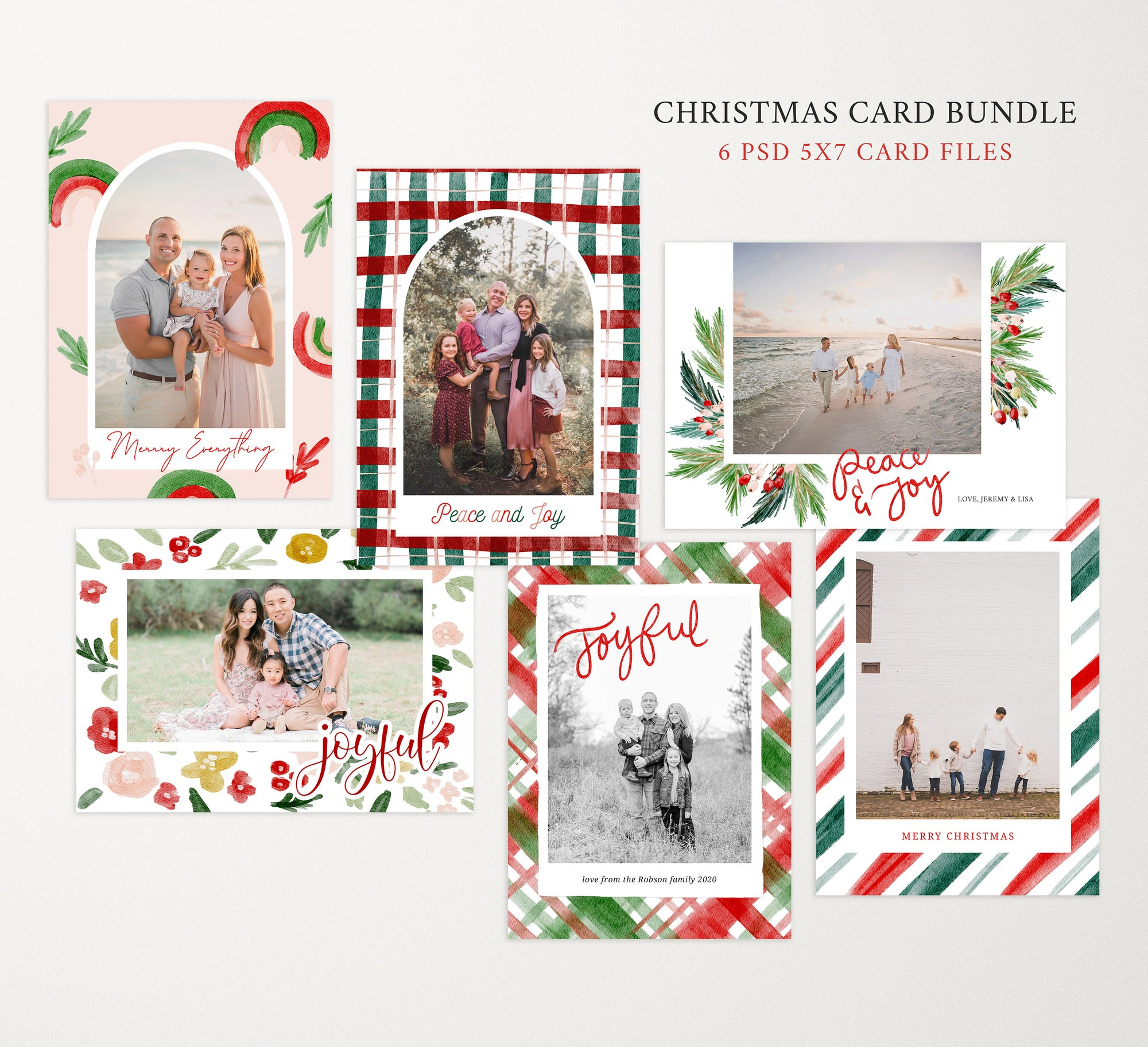 Christmas Card Template Bundle for Photographers, Christmas PSD Cards for Photographers, Christmas Card Bundle, Photoshop Christmas Cards