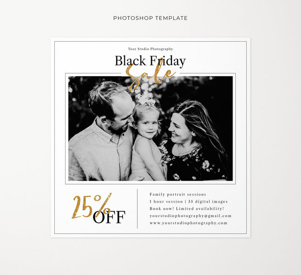 Black Friday Sale Template, Mini Session Template, Photoshop Templates for Photographers, Black Friday Discount Flyer Template, PSD Template