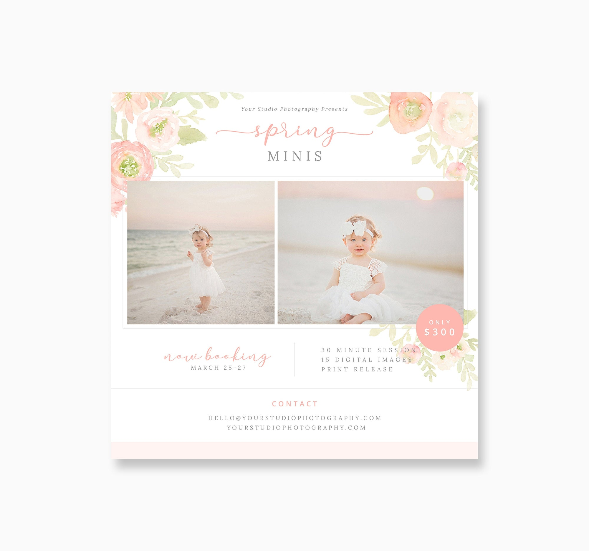 Floral Spring Mini Session for Photographers, PSD Photography Spring Mini Session Template, Marketing Spring Flyer, INSTANT DOWNLOAD, F3061